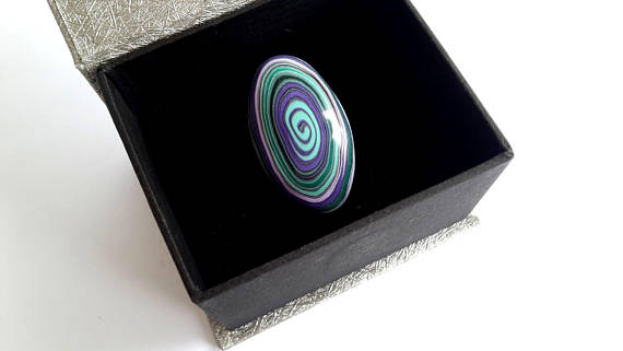 Polymer clay spiral ring - ideas for a big fashion statement