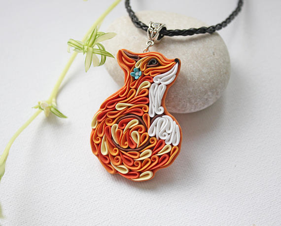 Polymer clay Fox necklace, fox jewelry, little fox necklace, red orange fox cute little fox curled up animal forest animal jewelry