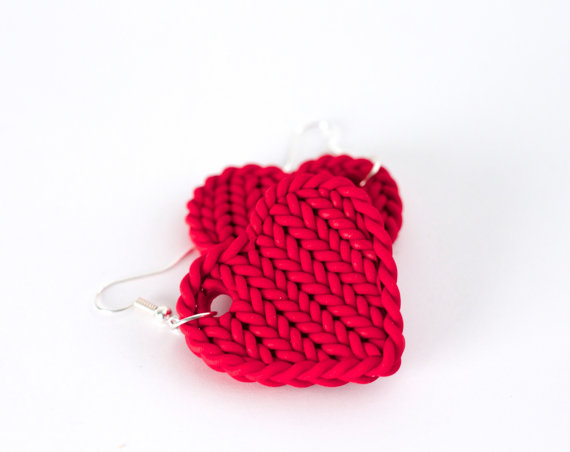Polymer clay knit jewelry - Faux knit red heart earrings - polymer clay cherry red earrings - red knit earrings - valentines earrings - statement earrings