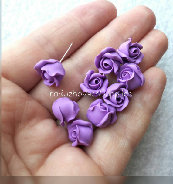 Purple Roses Flowers,lavender, violet, polymer clay flower beads