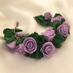 Purple orchid necklace, Polymer clay necklace, Flower necklace, Violet orchid necklace, Gift for her, Wedding prom necklace, Charm necklace