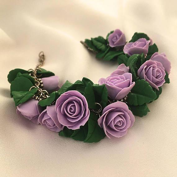 Purple rose bracelet, Rose flower bracelet, Violet rose bracelet, Polymer clay bracelet, Purple green bracelet, Gift for her, Girls bracelet