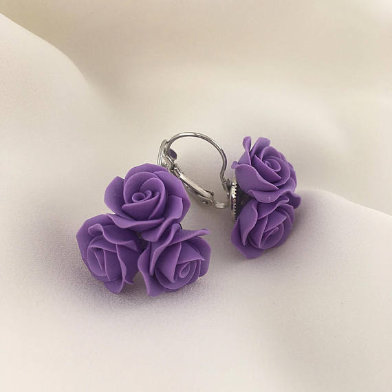 Purple polymer clay jewelry