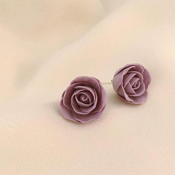 Purple polymer clay jewelry