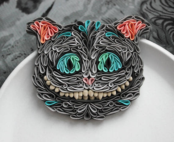 Tim Burton's Cheshire cat brooch, Cheshire cat jewelry, polymer clay Cheshire cat, Alice in Wonderland