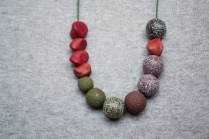 Polymer clay asymmetric beads necklace