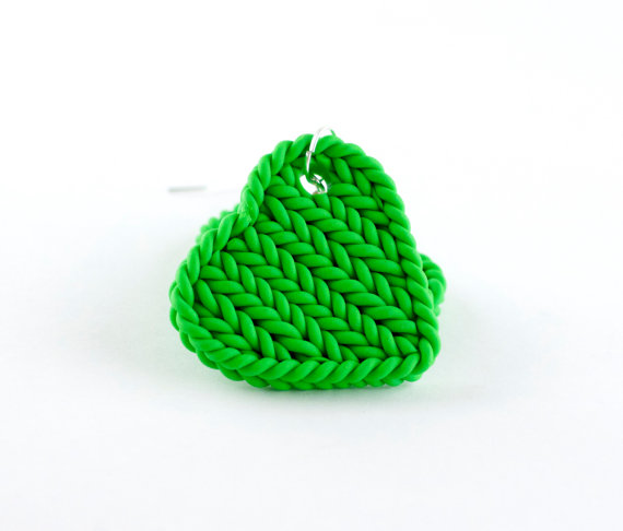 Tropical green heart earrings - faux knitting earrings - Polymer clay jewels