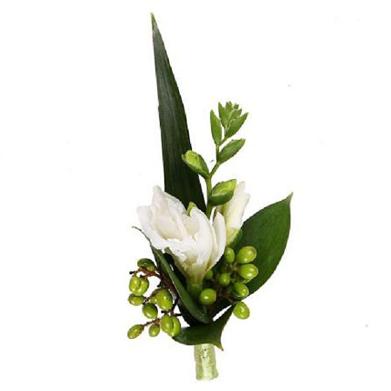 Wedding Boutonniere with white freesia, groom freesia boutonniere, freesia bouquet, freesia corsage