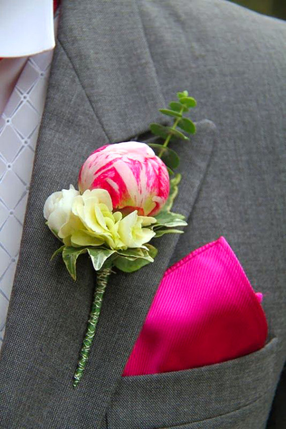 Polymer clay wedding boutonniere