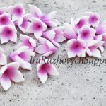 White flowers, polymer clay flower bead
