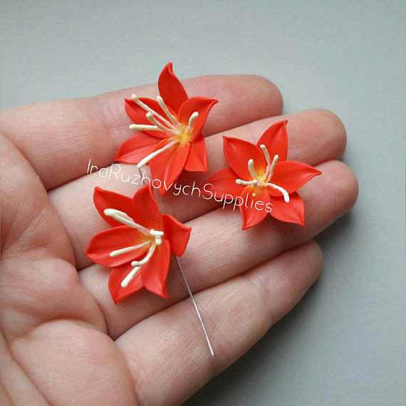 Red lily , polymer clay flower bead
