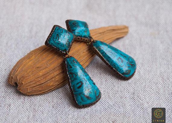 Polymer clay blue boho earrings