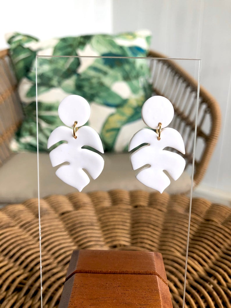 Polymer clay monstera earrings