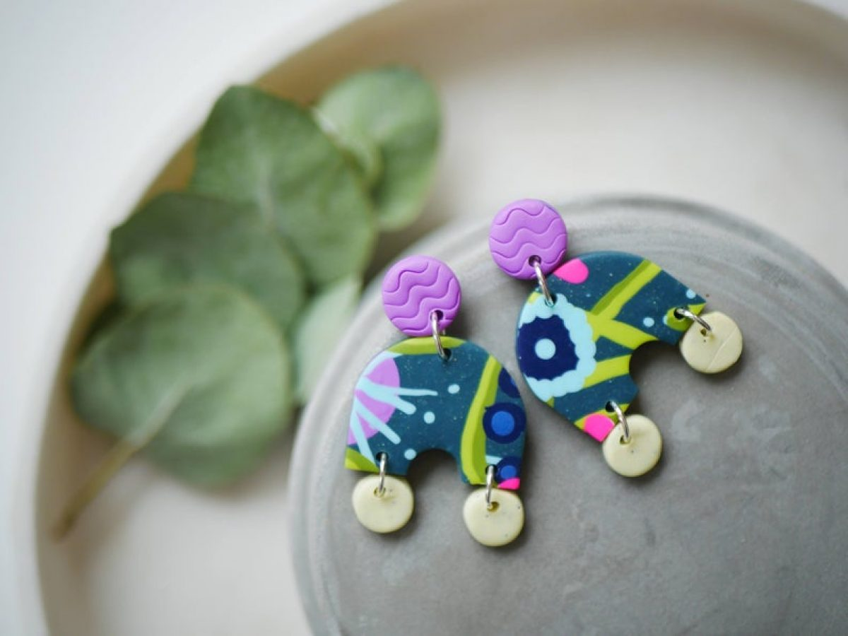 Polymer Clay Earrings Mosaic Collection Mosaic Dangling Studs