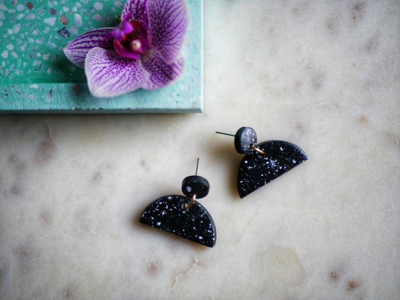 Polymer clay half moon earrings