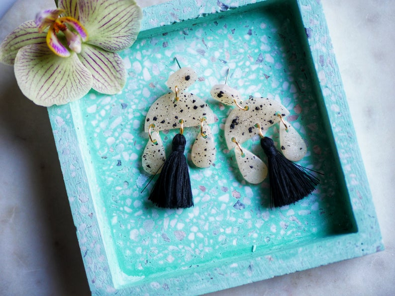Statement polymer clay earrings tassels earrings clay earrings druzy translucent earrings black terrazzo earrings geometric dangle earrings