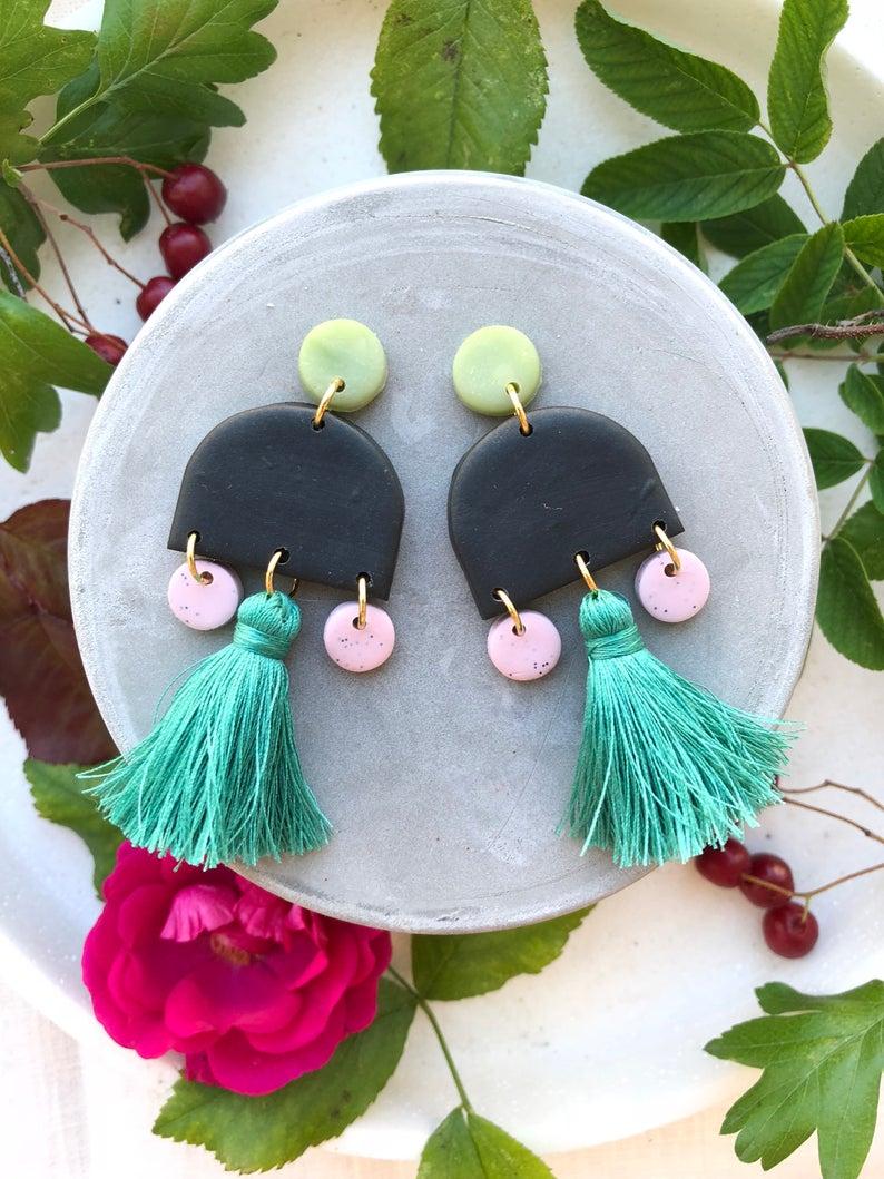 Polymer clay tassel earrings
