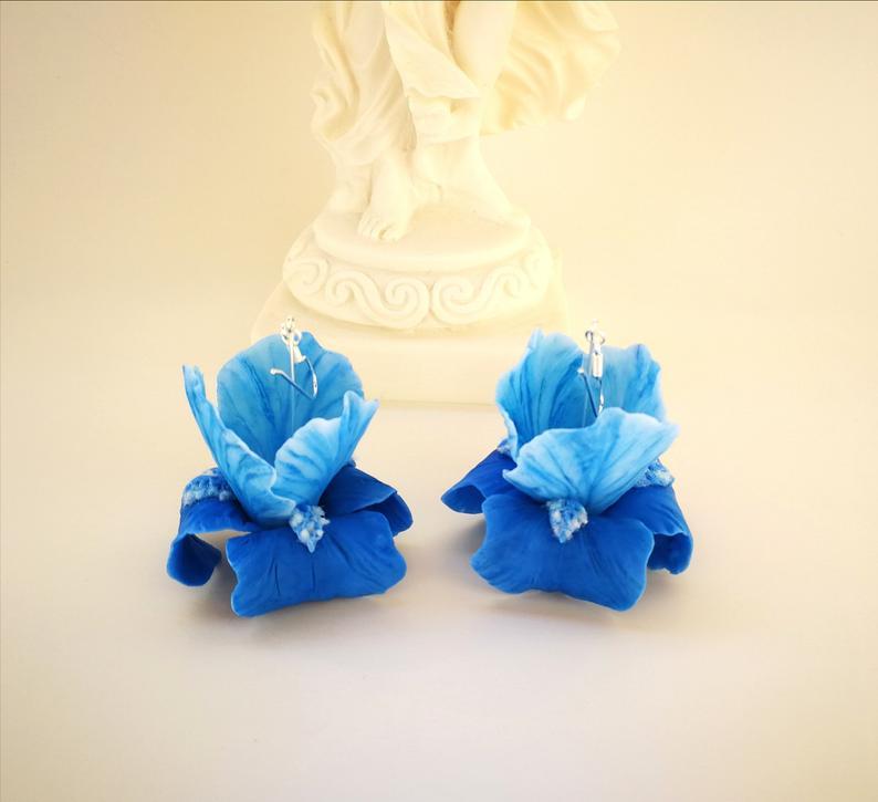 Polymer clay Iris earrings