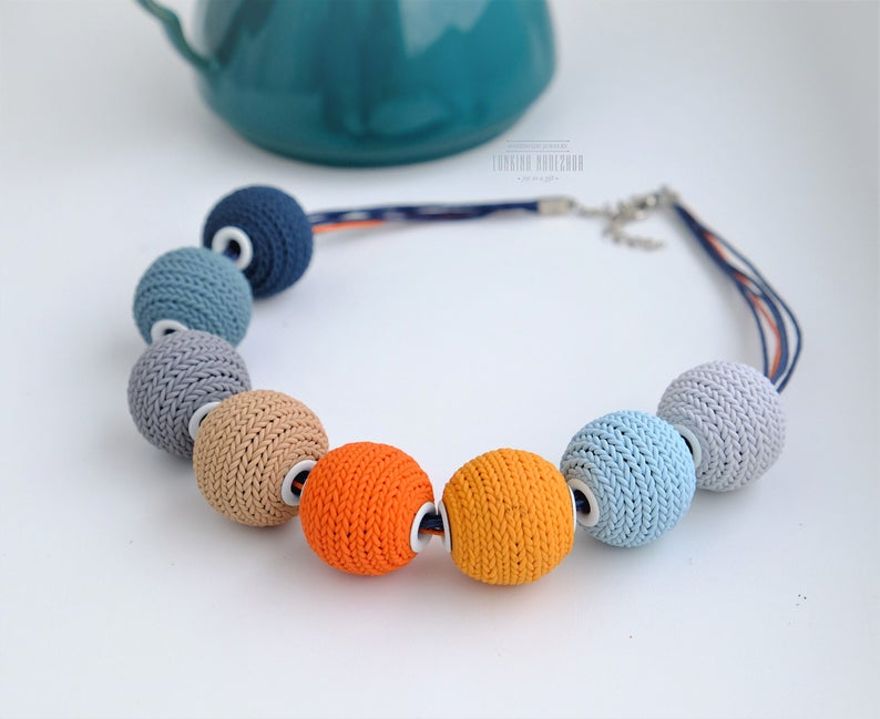 Polymer clay knitted beads necklace