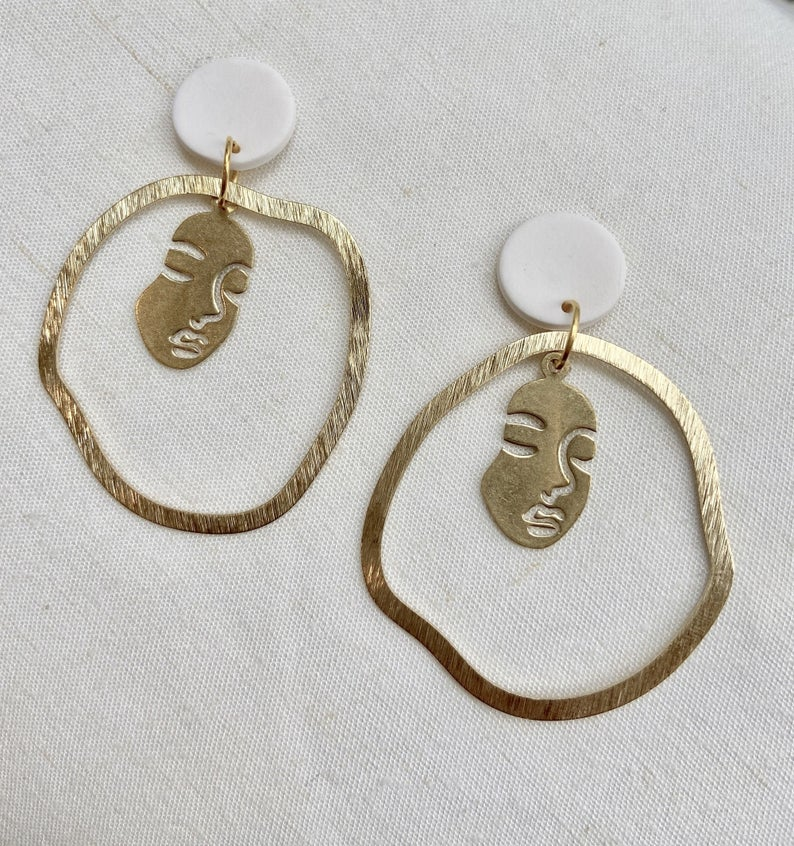 Polymer clay face earrings