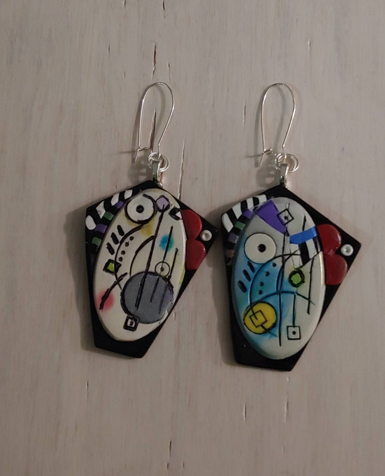Kandinsky Inspired Polymer Clay Art Abstract Earrings