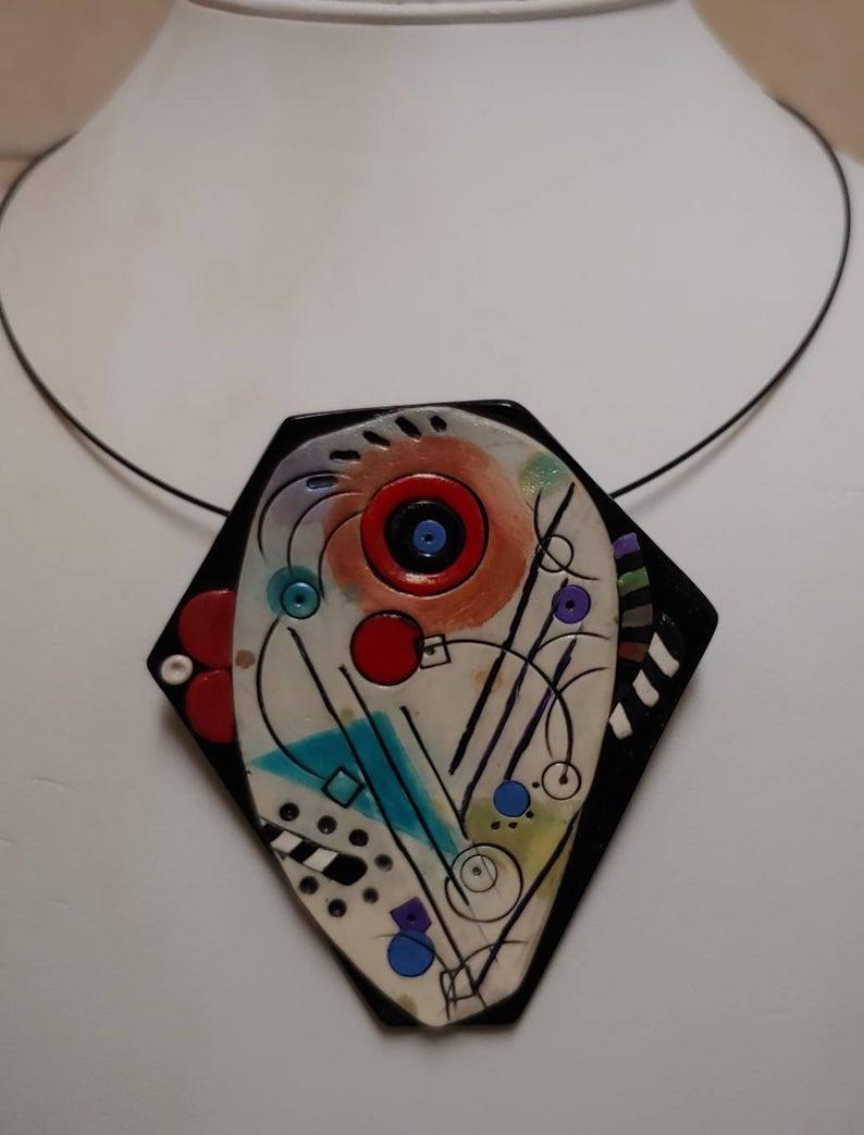Kandinsky inspired polymer clay jewelry