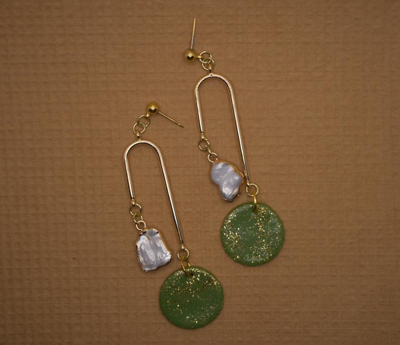 Polymer clay and pearl earrings