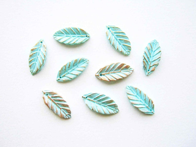 Leaf Charms Mint Green - Polymer Clay Leaf Drops - Clay Leaf Beads - Woodland Leaf Charm - Polymer Clay Beads