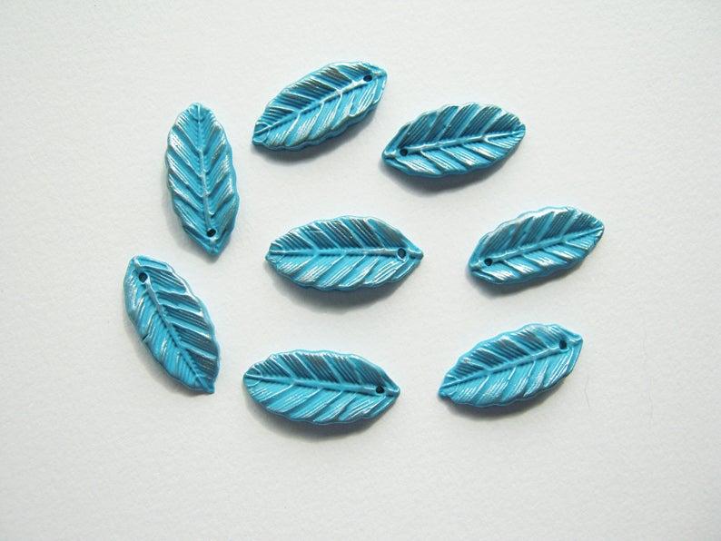 Polymer clay leaf beads