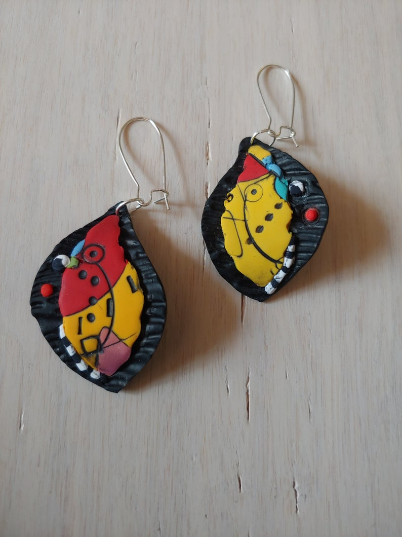 Leaf Earrings Polymer Clay Picasso Art Handmade New Collection