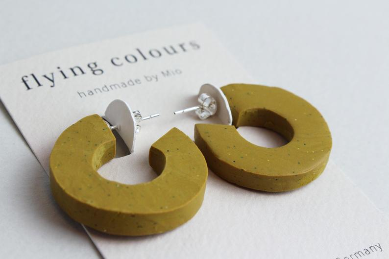 Minimal Mustard Yellow Hoop Earrings Handmade Polymer Clay Jewellery