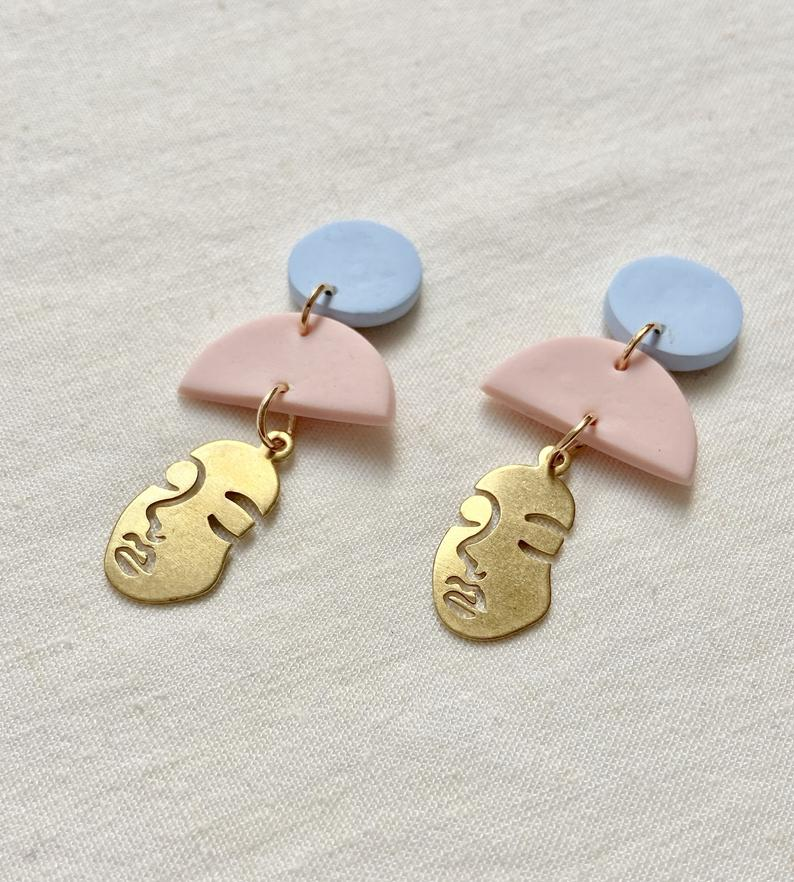 Polymer Clay Face Earrings Brass Earrings Statement Earrings Handmade