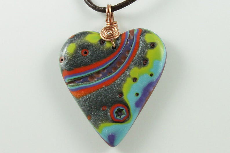 Polymer Clay Heart Pendant with Copper Spiral