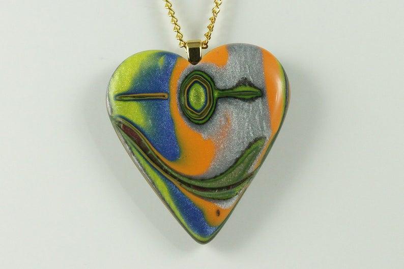Colorful heart pendant