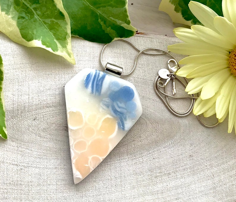 Polymer clay shaded pendant - Polymer Clay Pendant -Blue and Yellow Pendant - Polymer Clay Jewellery