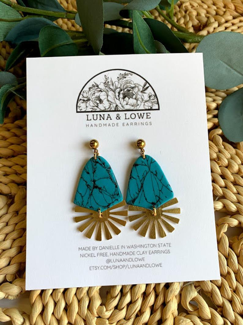 Polymer clay sun charm earrings