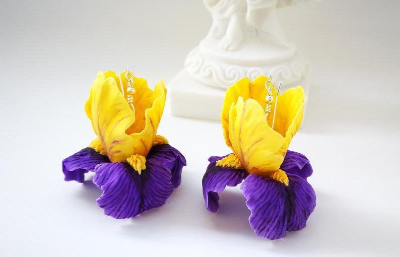 Polymer clay dangle wisteria flower earrings - free DIY step by step tutorial