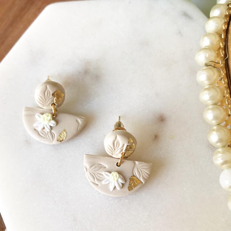 Semi-circle dangle earrings