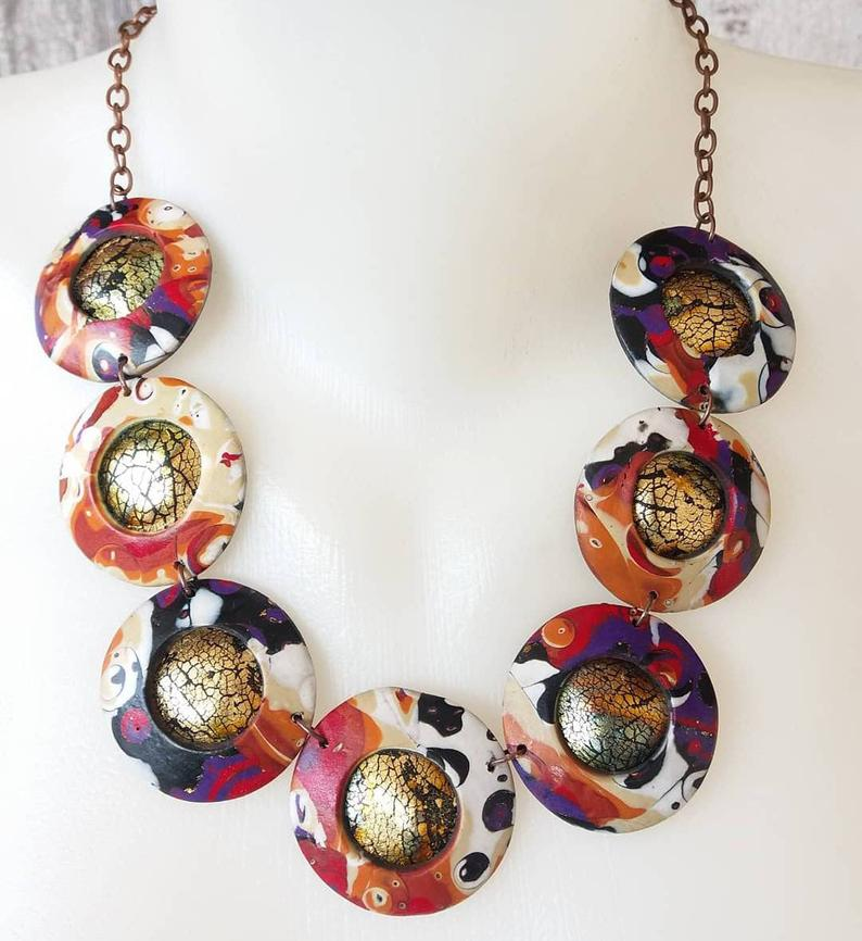 Colorful polymer clay necklace