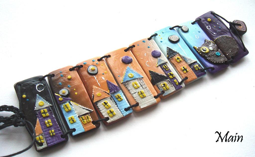Polymer clay bracelets with a story