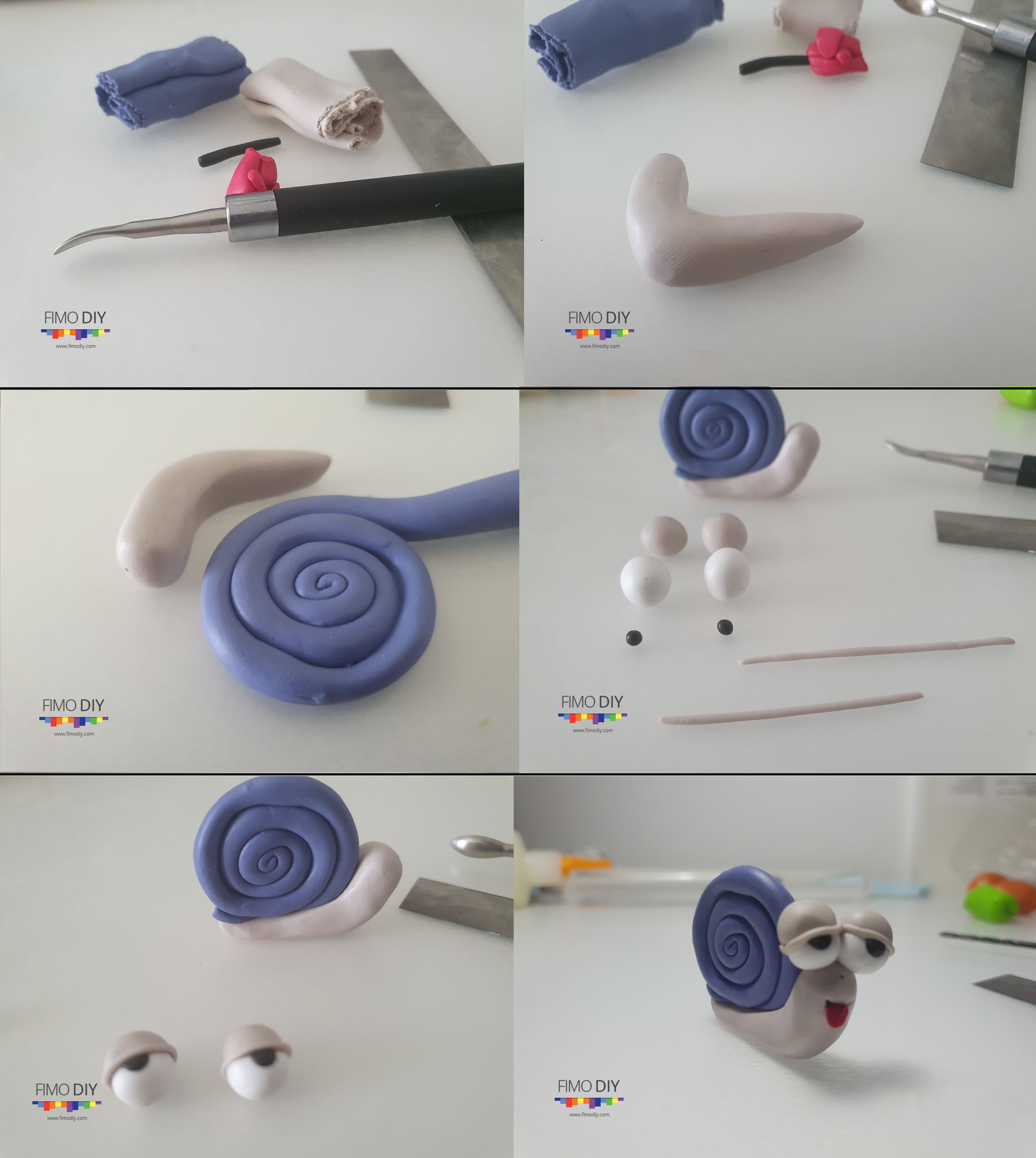 Polymer clay snail tutorial