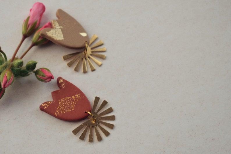 Polymer clay modern earrings