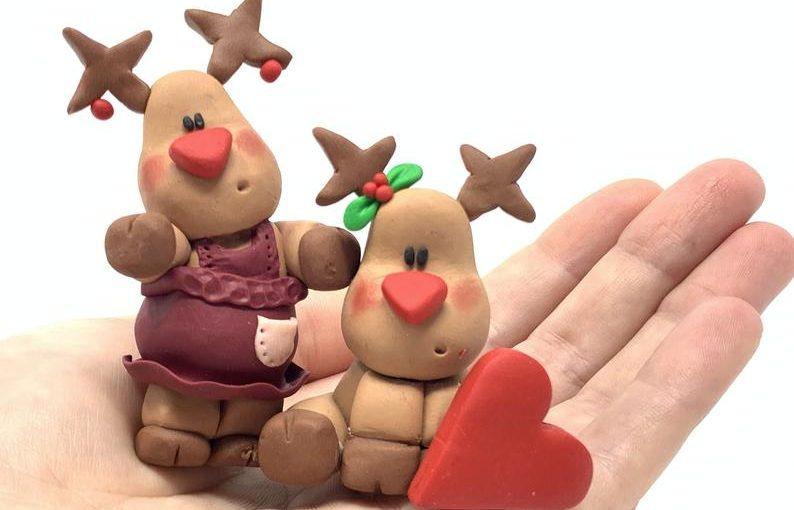 Polymer clay reindeer decoration